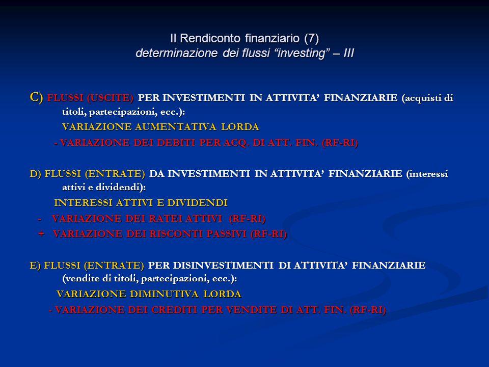 Il Rendiconto finanziario (7) determinazione dei flussi investing – III C) FLUSSI (USCITE) PER INVESTIMENTI IN ATTIVITA' FINANZIARIE (acquisti di titoli, partecipazioni, ecc.): VARIAZIONE AUMENTATIVA LORDA VARIAZIONE AUMENTATIVA LORDA - VARIAZIONE DEI DEBITI PER ACQ.