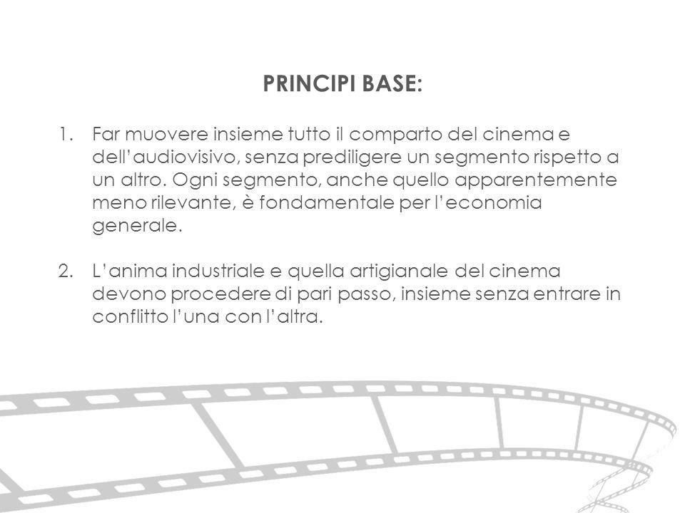 1.Far muovere insieme tutto il comparto del cinema e dell'audiovisivo, senza prediligere un segmento rispetto a un altro.