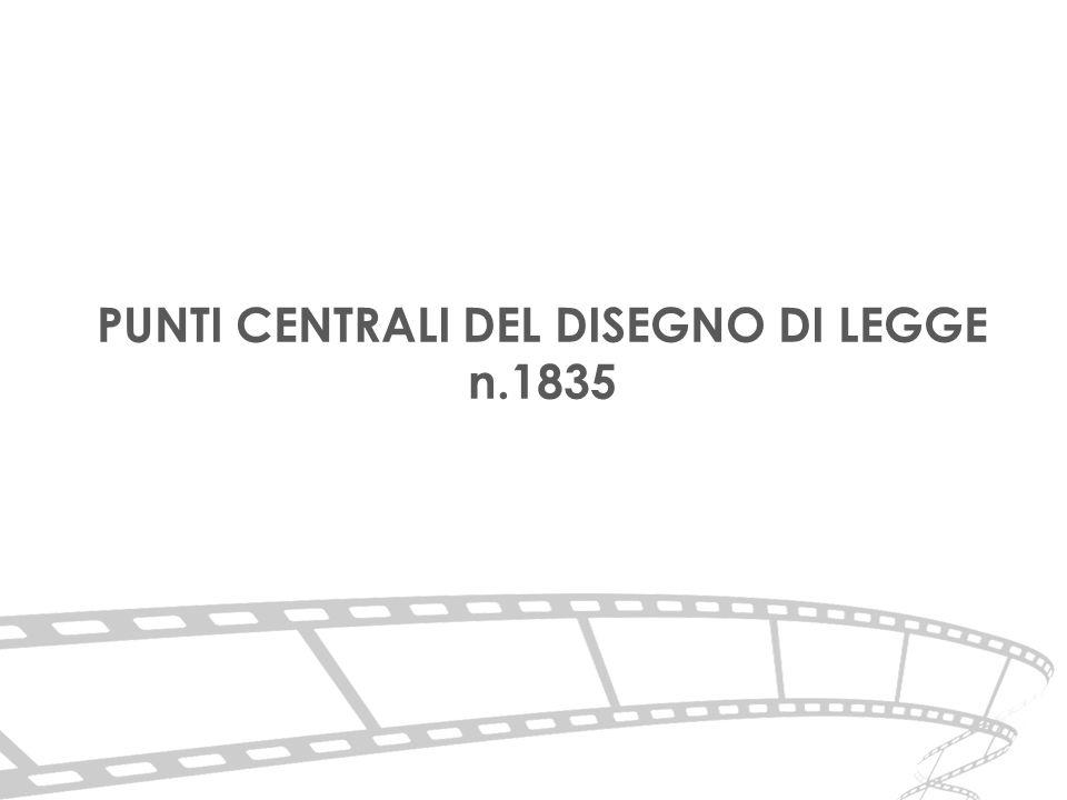 PUNTI CENTRALI DEL DISEGNO DI LEGGE n.1835