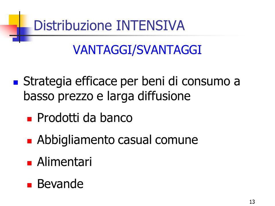 13 Distribuzione INTENSIVA VANTAGGI/SVANTAGGI Strategia efficace per beni di consumo a basso prezzo e larga diffusione Prodotti da banco Abbigliamento casual comune Alimentari Bevande