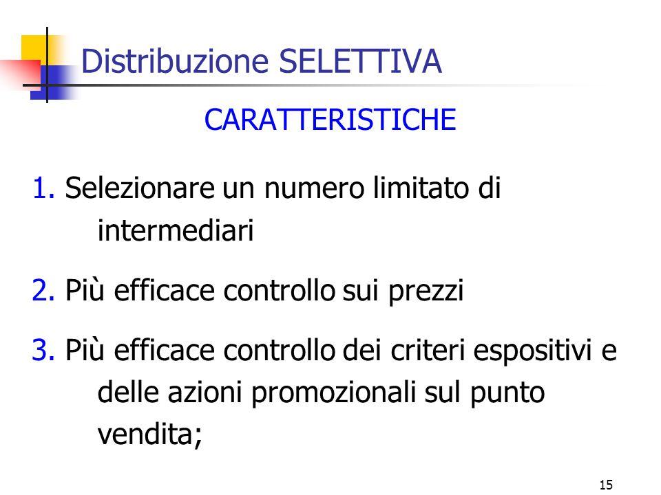15 Distribuzione SELETTIVA CARATTERISTICHE 1.Selezionare un numero limitato di intermediari 2.