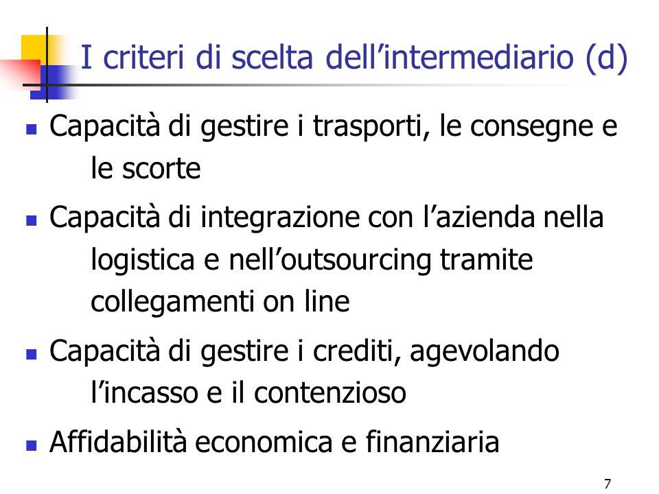 7 I criteri di scelta dell'intermediario (d) Capacità di gestire i trasporti, le consegne e le scorte Capacità di integrazione con l'azienda nella logistica e nell'outsourcing tramite collegamenti on line Capacità di gestire i crediti, agevolando l'incasso e il contenzioso Affidabilità economica e finanziaria