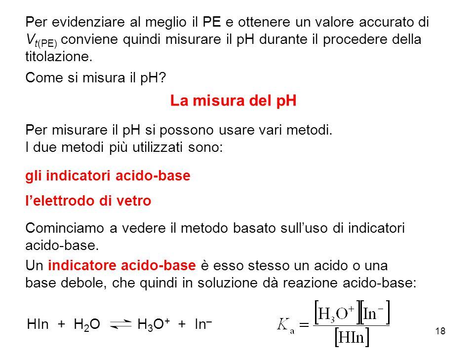 18 La misura del pH Per evidenziare al meglio il PE e ottenere un valore accurato di V t(PE) conviene quindi misurare il pH durante il procedere della