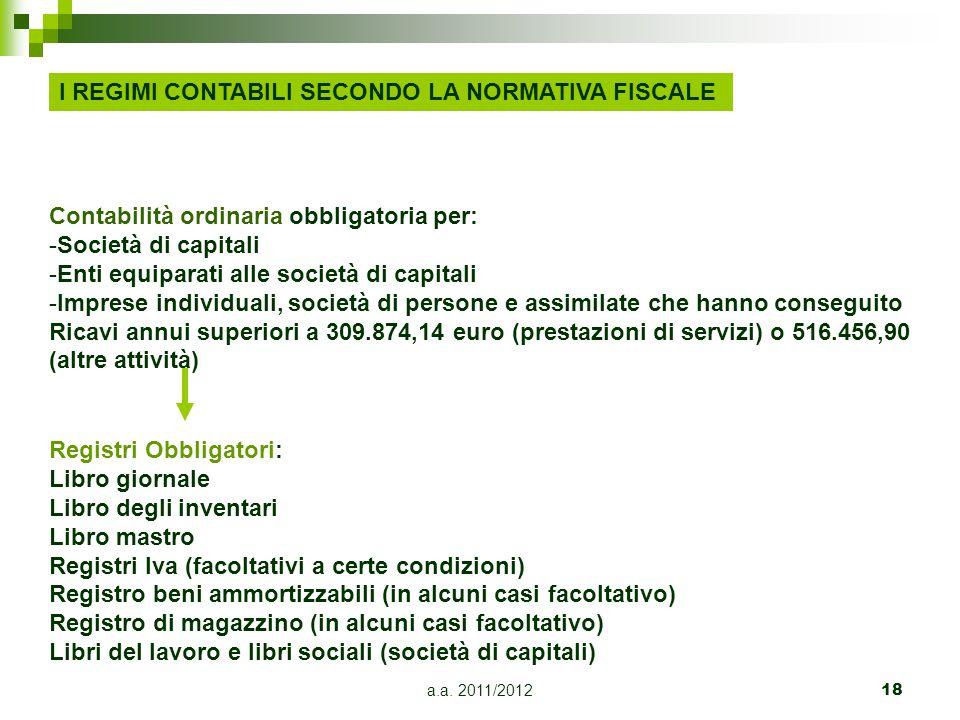 a.a.2011/201219 Regime di contabilità semplificata Art.