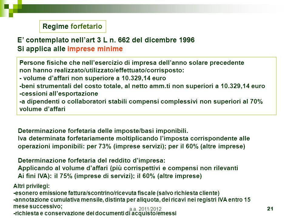 a.a.2011/201222 Regime delle attività marginali Art.