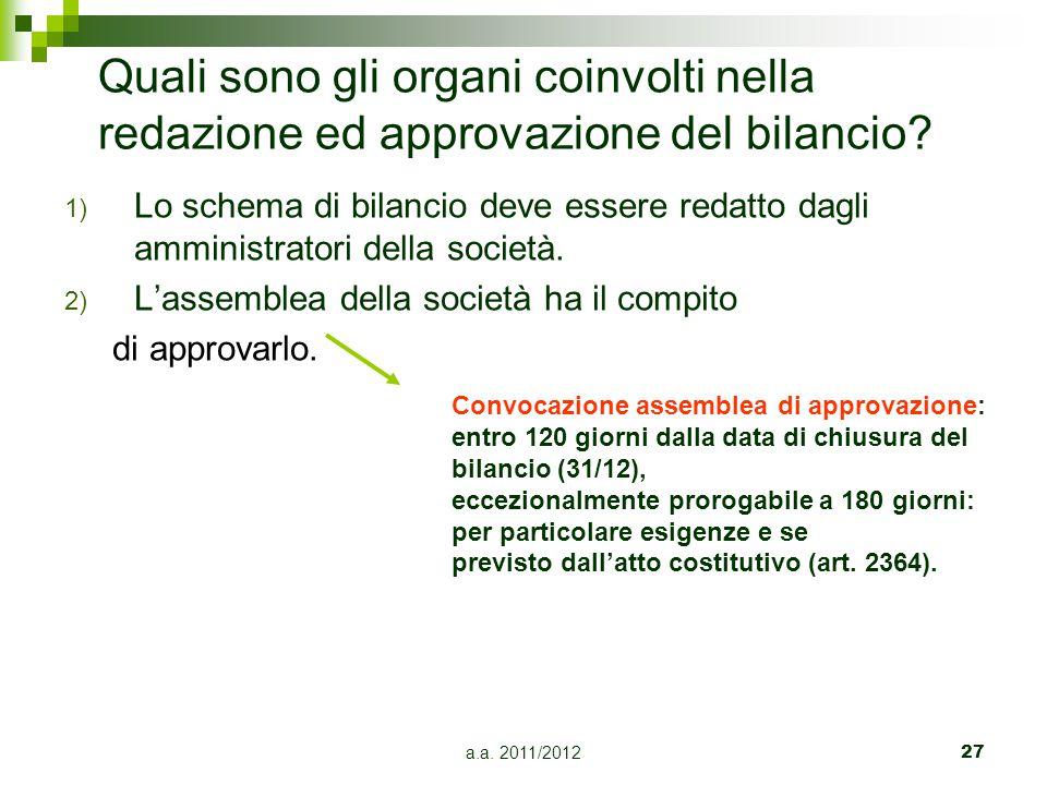a.a.2011/201228 Il bilancio d'esercizio è costituito da tre documenti: Art.
