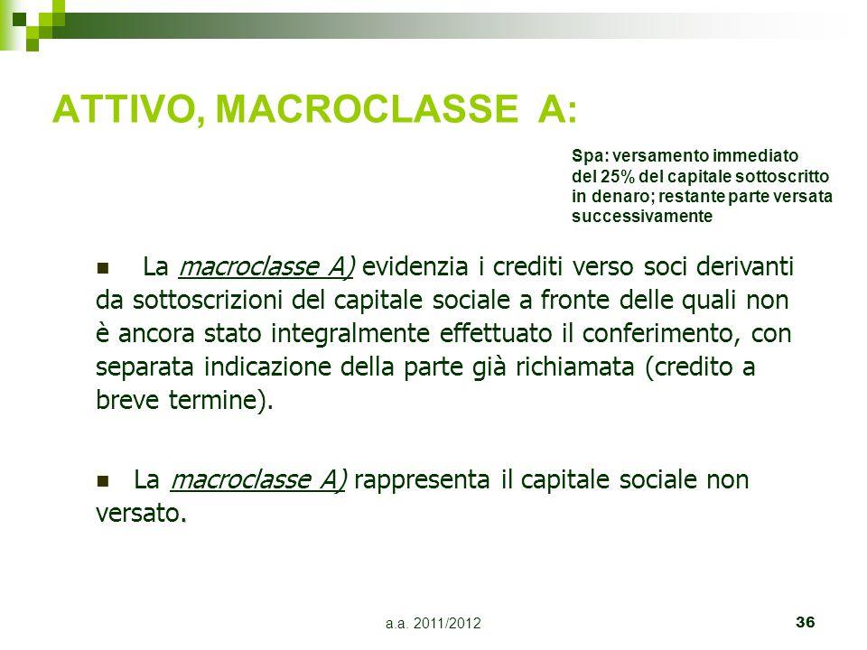 a.a.2011/201237 ATTIVO, MACROCLASSE B: La macroclasse B) accoglie le immobilizzazioni.