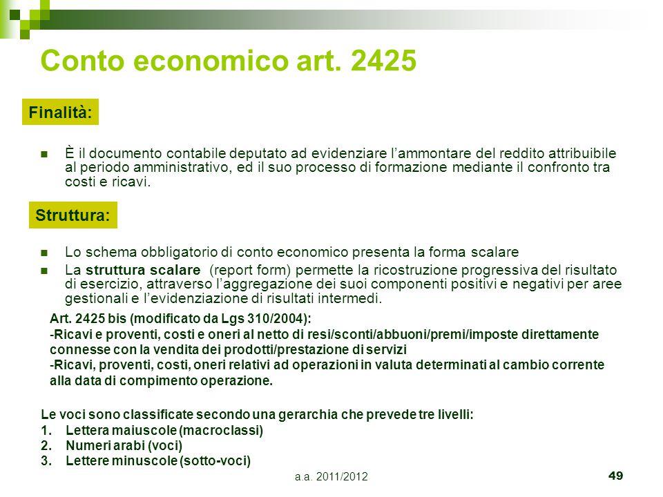 a.a.2011/201250 CONTO ECONOMICO, QUAL'E' IL CRITERIO DI CLASSIFICAZIONE DELLE POSTE.