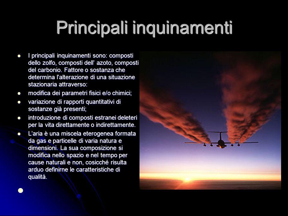 Principali inquinamenti I principali inquinamenti sono: composti dello zolfo, composti dell' azoto, composti del carbonio.