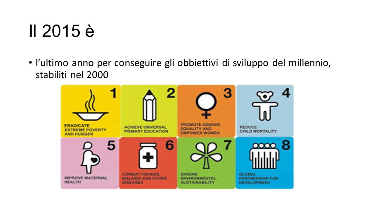 Il 2015 è l'ultimo anno per conseguire gli obbiettivi di sviluppo del millennio, stabiliti nel 2000
