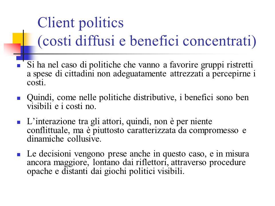 Client politics (costi diffusi e benefici concentrati) Si ha nel caso di politiche che vanno a favorire gruppi ristretti a spese di cittadini non adeg