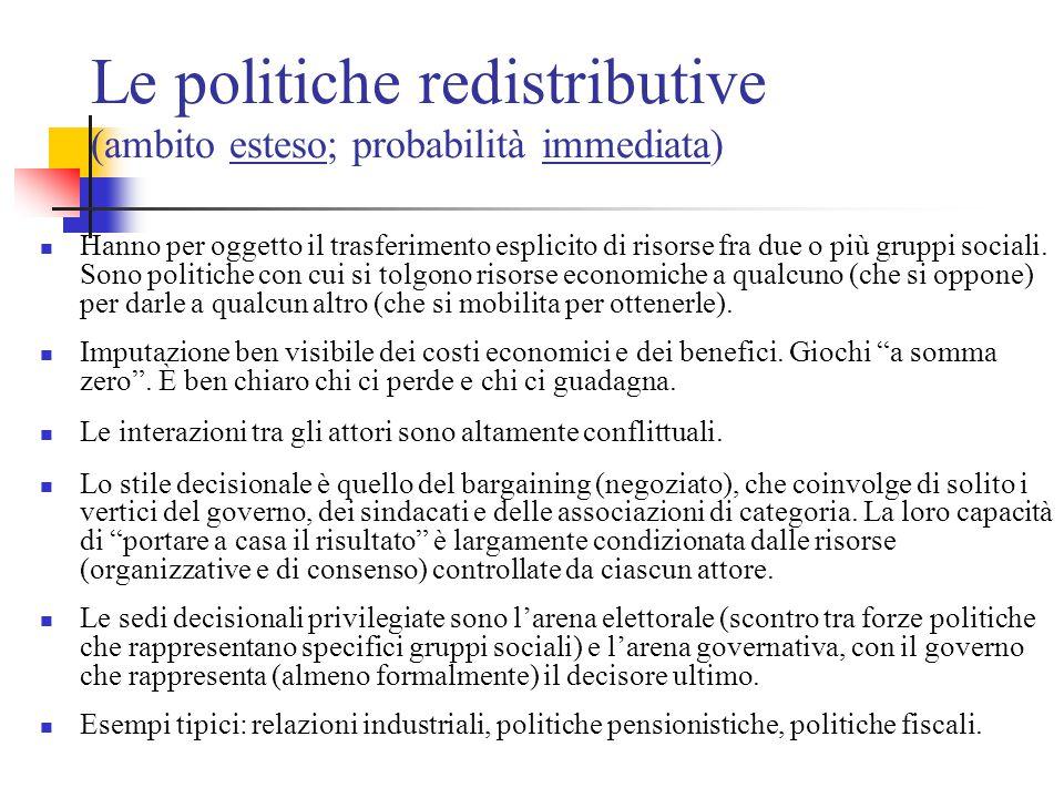 Le politiche redistributive (ambito esteso; probabilità immediata) Hanno per oggetto il trasferimento esplicito di risorse fra due o più gruppi social