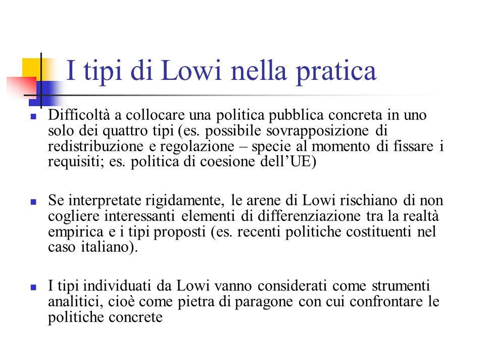 I tipi di Lowi nella pratica Difficoltà a collocare una politica pubblica concreta in uno solo dei quattro tipi (es. possibile sovrapposizione di redi