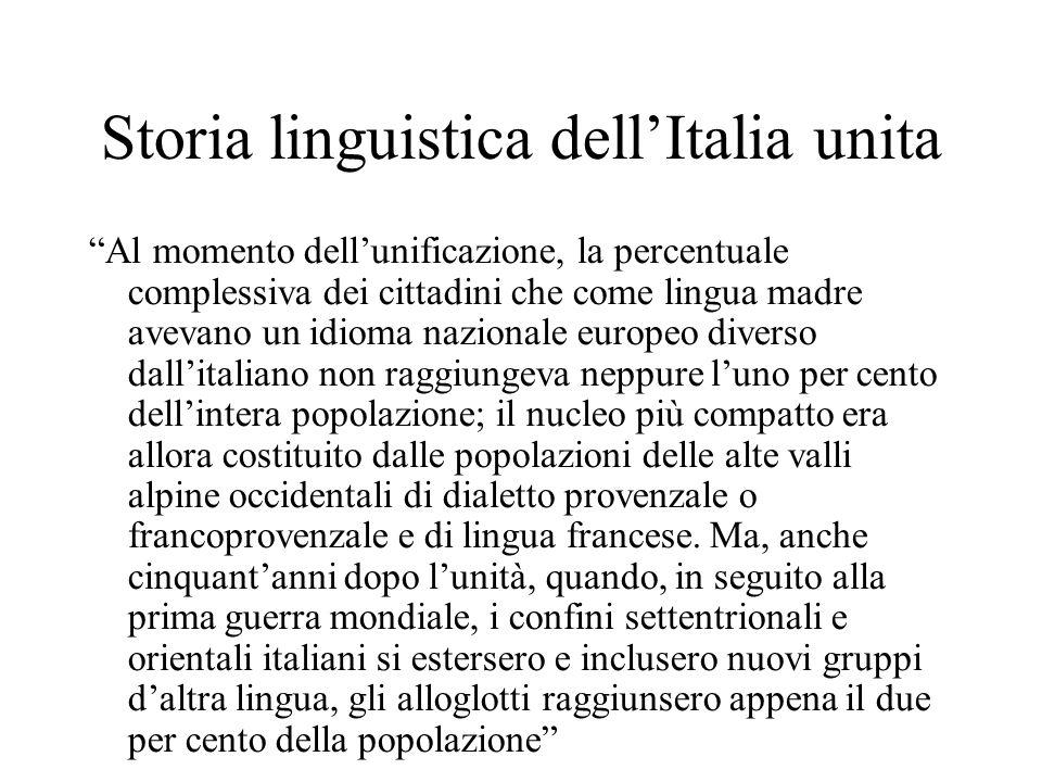 """Storia linguistica dell'Italia unita """"Al momento dell'unificazione, la percentuale complessiva dei cittadini che come lingua madre avevano un idioma n"""