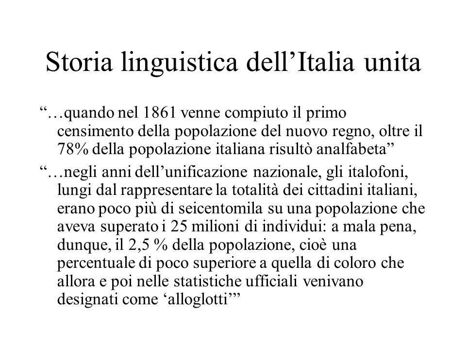 """Storia linguistica dell'Italia unita """"…quando nel 1861 venne compiuto il primo censimento della popolazione del nuovo regno, oltre il 78% della popola"""