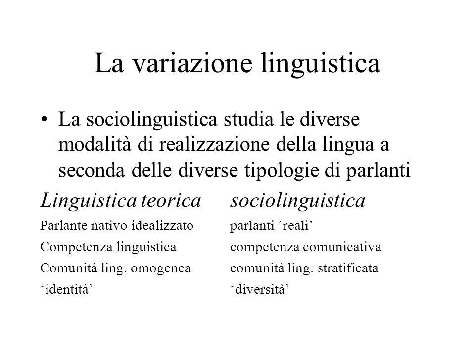 La variazione linguistica La sociolinguistica studia le diverse modalità di realizzazione della lingua a seconda delle diverse tipologie di parlanti L
