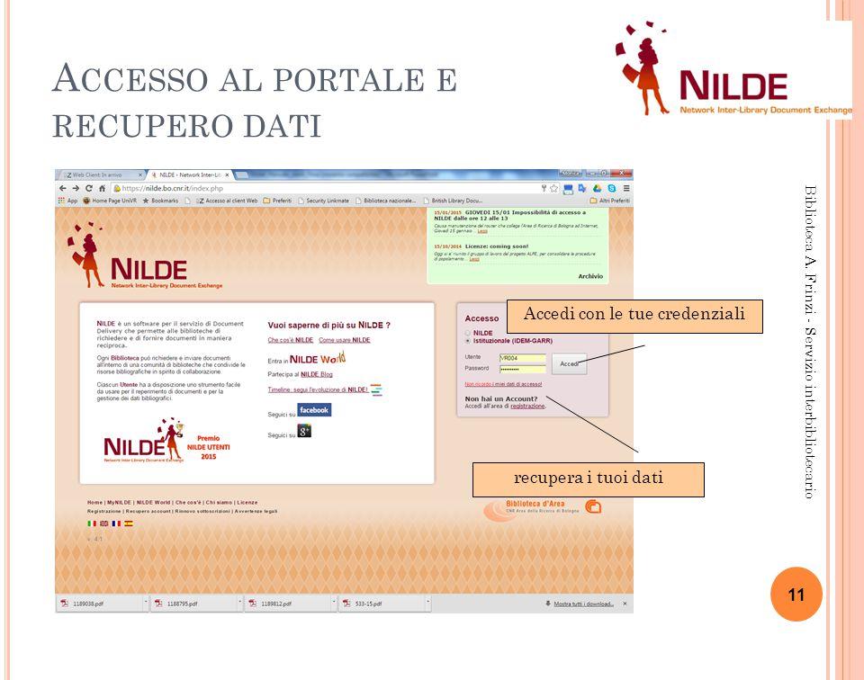 A CCESSO AL PORTALE E RECUPERO DATI Biblioteca A.