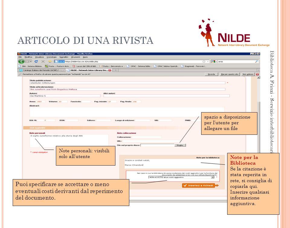 ARTICOLO DI UNA RIVISTA 14 Biblioteca A.