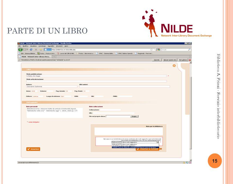 PARTE DI UN LIBRO 15 Biblioteca A. Frinzi - Servizio interbibliotecario