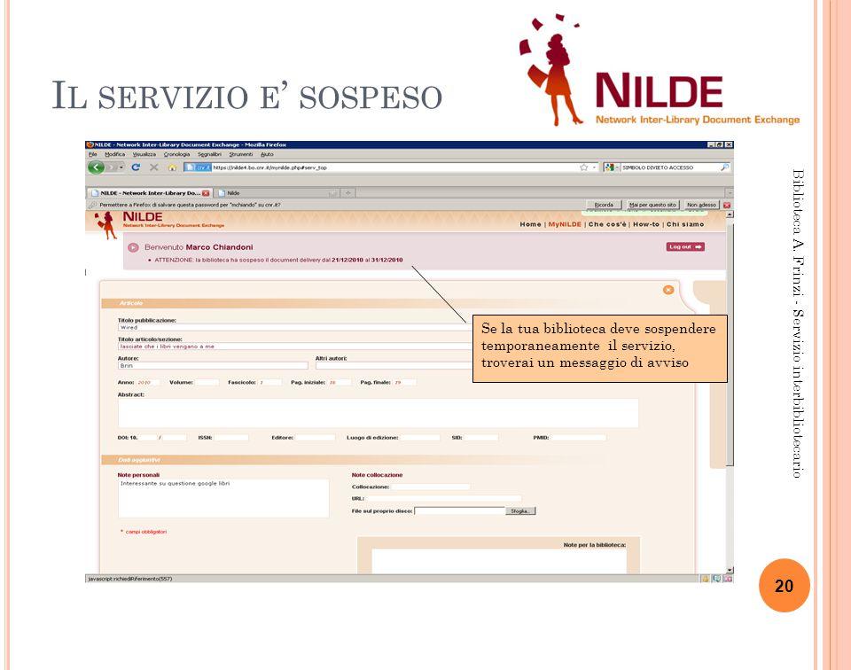 I L SERVIZIO E ' SOSPESO 20 Biblioteca A.