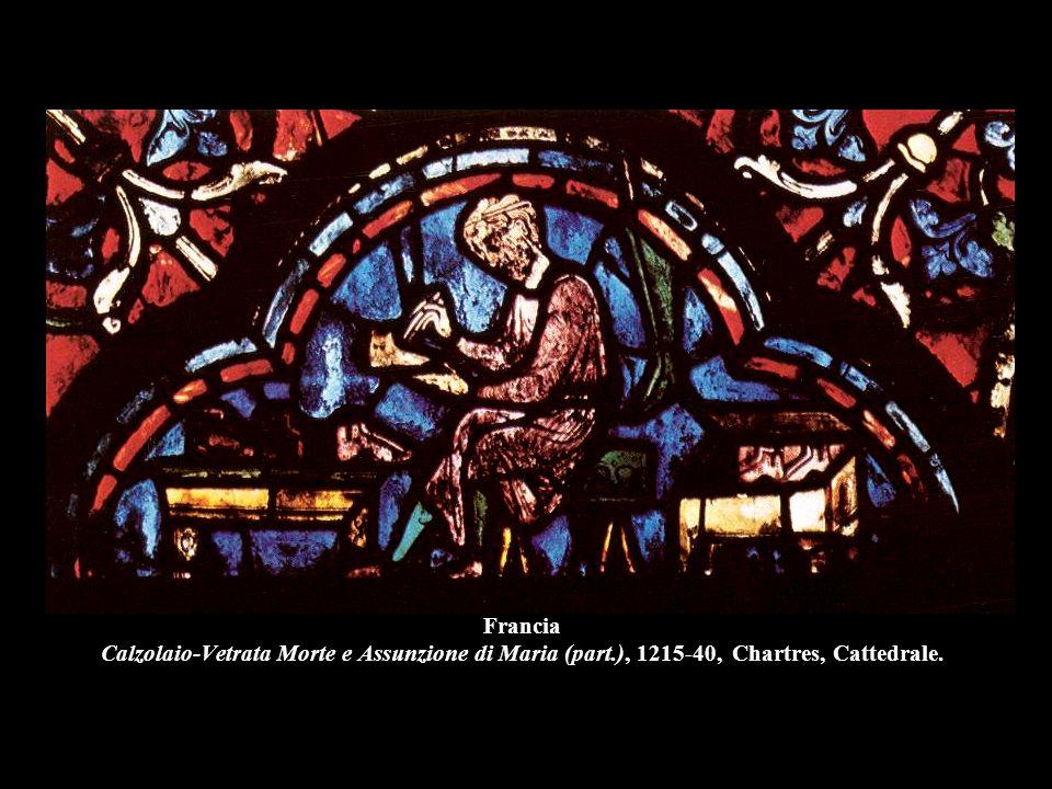 Francia Calzolaio-Vetrata Morte e Assunzione di Maria (part.), 1215-40, Chartres, Cattedrale.