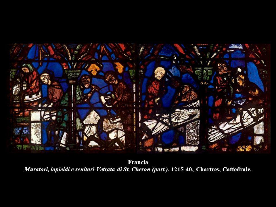 Francia Muratori, lapicidi e scultori-Vetrata di St. Cheron (part.), 1215-40, Chartres, Cattedrale.