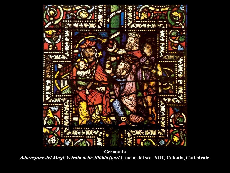 Germania Adorazione dei Magi-Vetrata della Bibbia (part.), metà del sec. XIII, Colonia, Cattedrale.