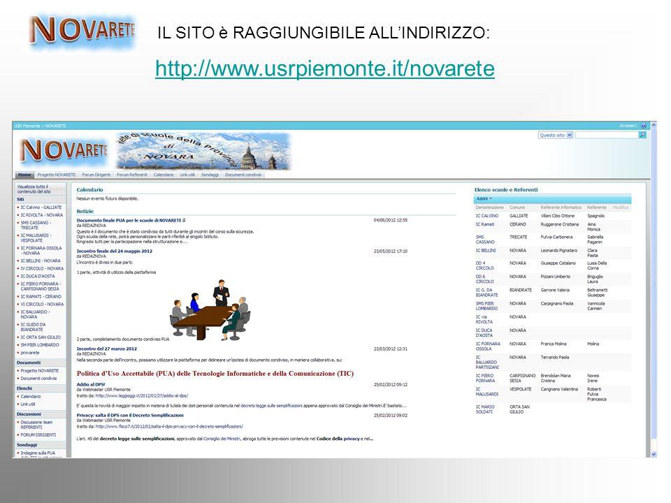 IL SITO è RAGGIUNGIBILE ALL'INDIRIZZO: http://www.usrpiemonte.it/novarete