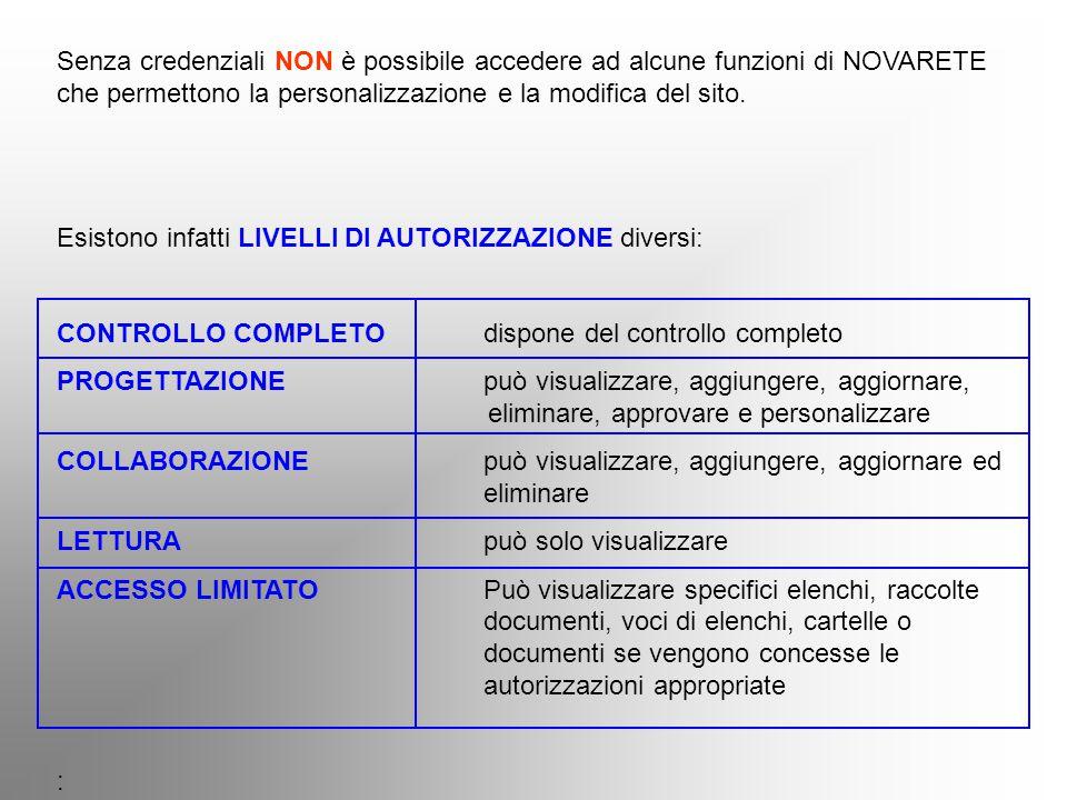 Senza credenziali NON è possibile accedere ad alcune funzioni di NOVARETE che permettono la personalizzazione e la modifica del sito. Esistono infatti