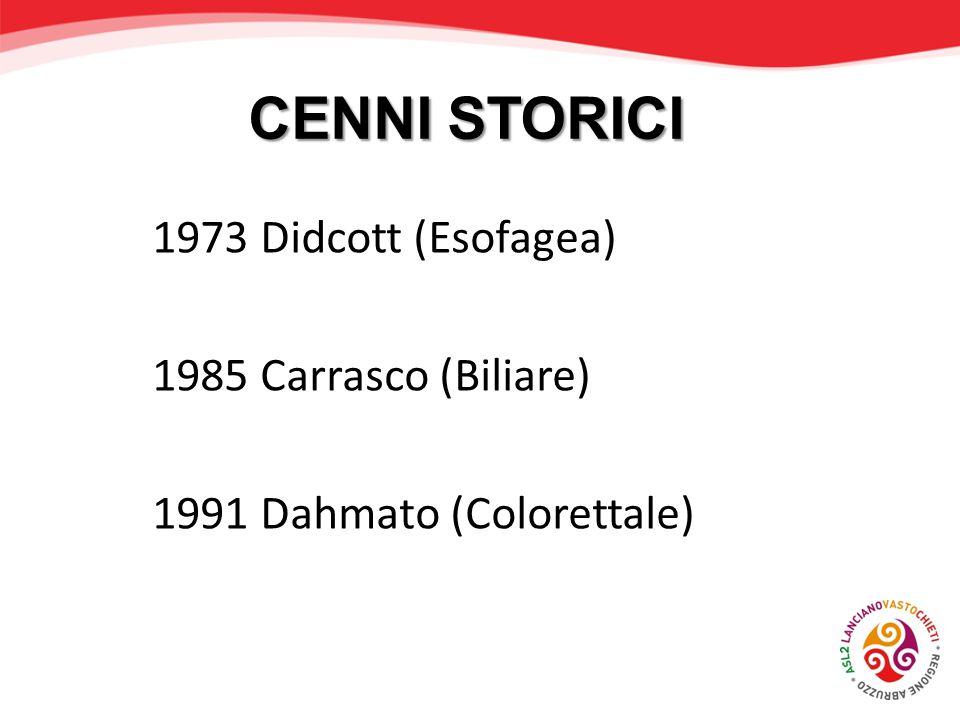 CENNI STORICI 1973 Didcott (Esofagea) 1985 Carrasco (Biliare) 1991 Dahmato (Colorettale)