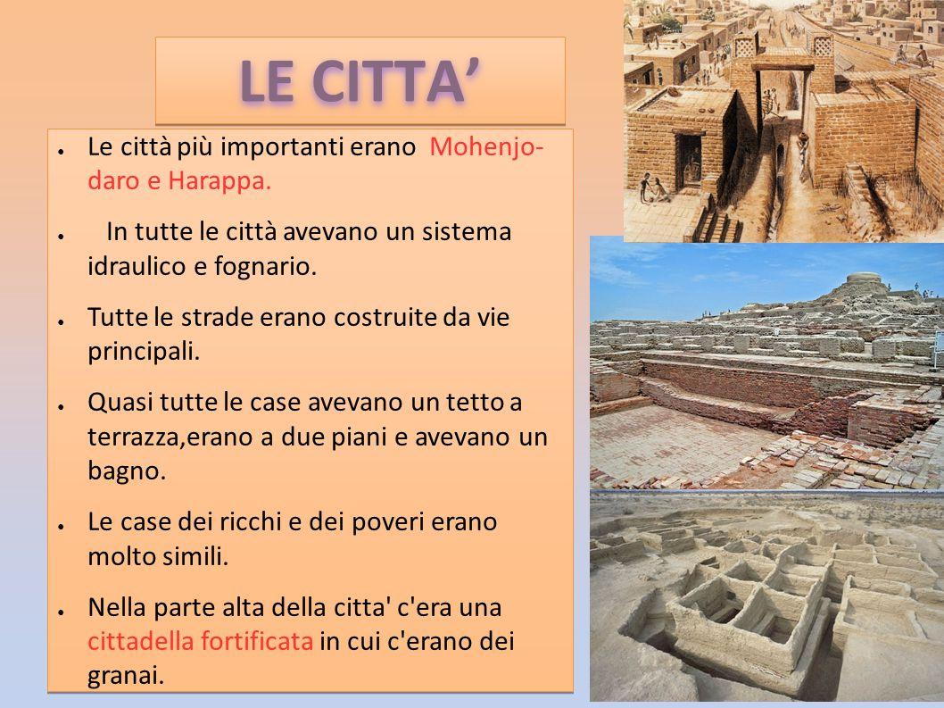 ● Le città più importanti erano Mohenjo- daro e Harappa. ● In tutte le città avevano un sistema idraulico e fognario. ● Tutte le strade erano costruit