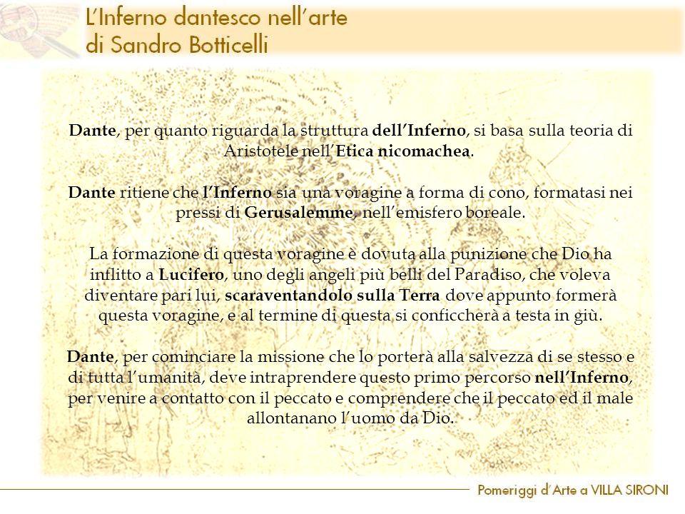 Dante, per quanto riguarda la struttura dell'Inferno, si basa sulla teoria di Aristotele nell' Etica nicomachea. Dante ritiene che l'Inferno sia una v