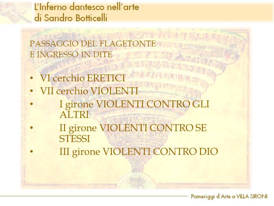 PASSAGGIO DEL FLAGETONTE E INGRESSO IN DITE VI cerchio ERETICI VII cerchio VIOLENTI I girone VIOLENTI CONTRO GLI ALTRI II girone VIOLENTI CONTRO SE ST