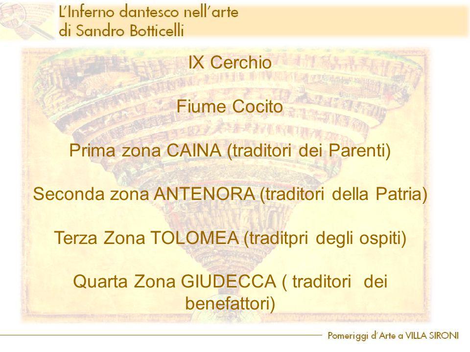 IX Cerchio Fiume Cocito Prima zona CAINA (traditori dei Parenti) Seconda zona ANTENORA (traditori della Patria) Terza Zona TOLOMEA (traditpri degli os