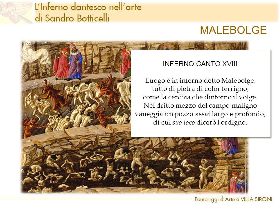 MALEBOLGE INFERNO CANTO XVIII Luogo è in inferno detto Malebolge, tutto di pietra di color ferrigno, come la cerchia che dintorno il volge. Nel dritto