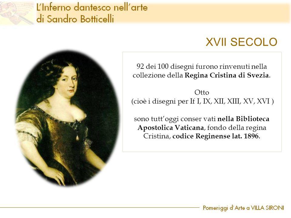 92 dei 100 disegni furono rinvenuti nella collezione della Regina Cristina di Svezia. Otto (cioè i disegni per If I, IX, XII, XIII, XV, XVI ) sono tut