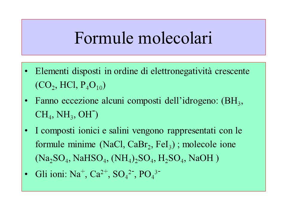 Formule molecolari Elementi disposti in ordine di elettronegatività crescente (CO 2, HCl, P 4 O 10 ) Fanno eccezione alcuni composti dell'idrogeno: (B