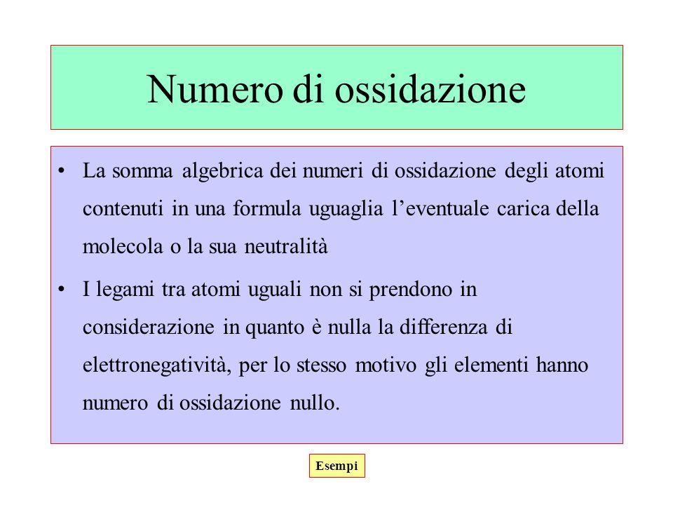 Numero di ossidazione La somma algebrica dei numeri di ossidazione degli atomi contenuti in una formula uguaglia l'eventuale carica della molecola o l