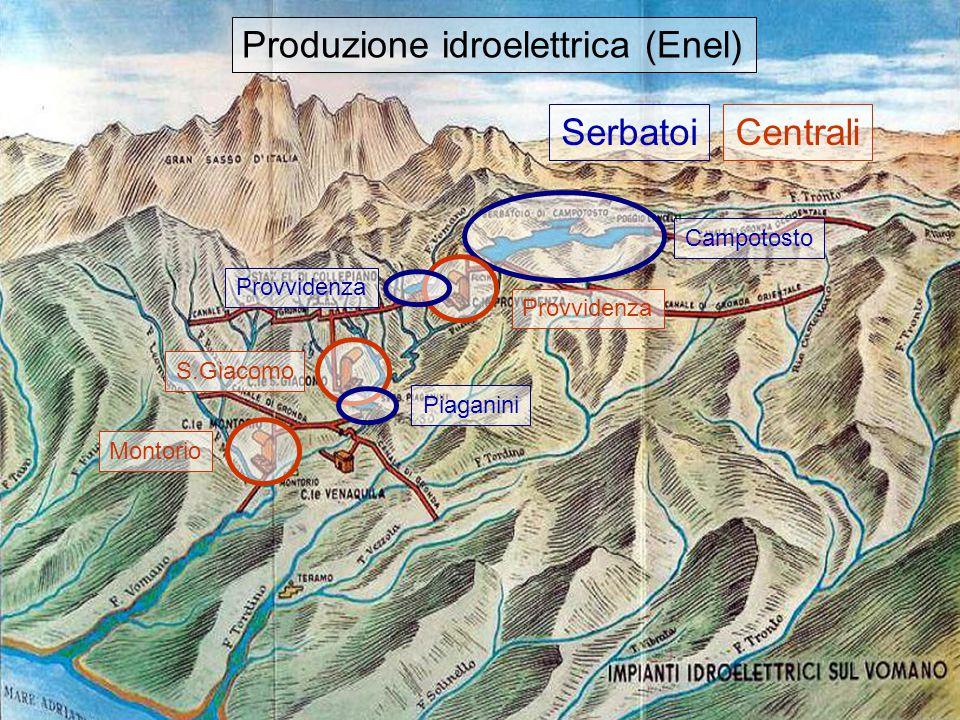16 Prod.Idroelettrica Vomano Campotosto MontorioS.Giacomo Provvidenza SerbatoiCentrali Produzione idroelettrica (Enel) ProvvidenzaPiaganini