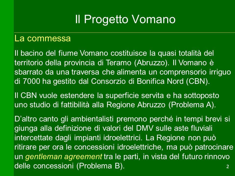 2 Il Progetto Vomano La commessa Il bacino del fiume Vomano costituisce la quasi totalità del territorio della provincia di Teramo (Abruzzo). Il Voman