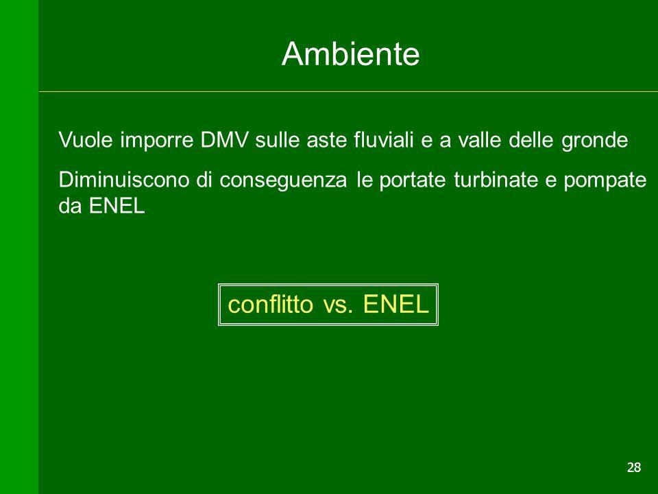 28 Ambiente Vuole imporre DMV sulle aste fluviali e a valle delle gronde Diminuiscono di conseguenza le portate turbinate e pompate da ENEL conflitto