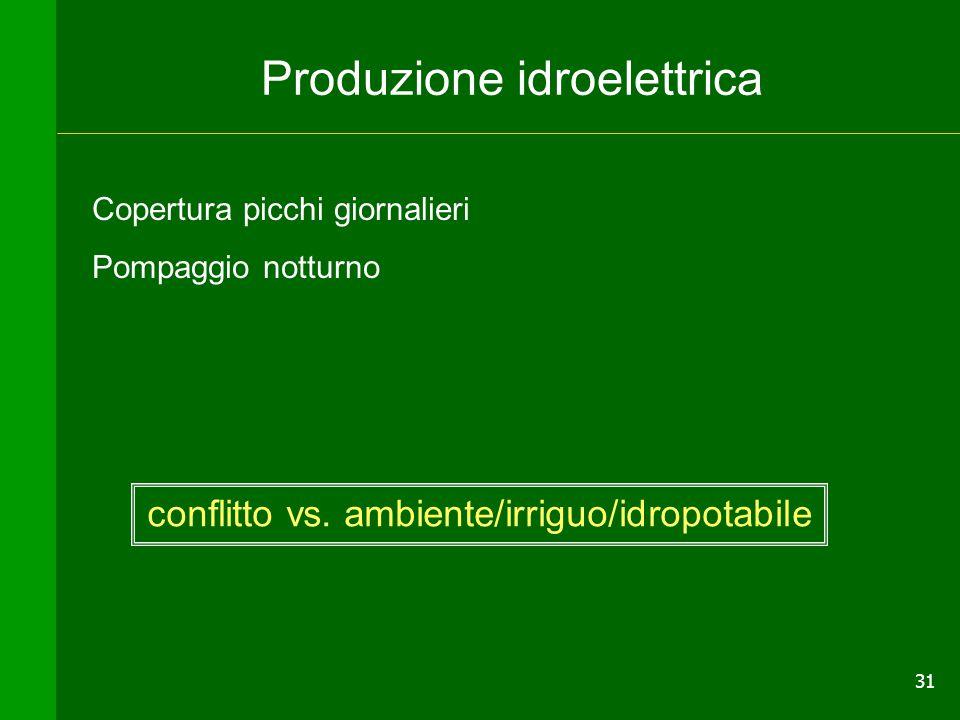 31 Produzione idroelettrica Copertura picchi giornalieri Pompaggio notturno conflitto vs. ambiente/irriguo/idropotabile
