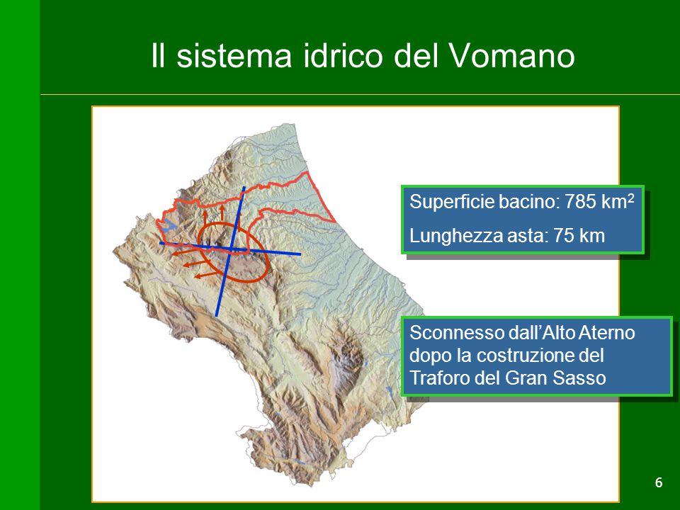 6 Il sistema idrico del Vomano Superficie bacino: 785 km 2 Lunghezza asta: 75 km Superficie bacino: 785 km 2 Lunghezza asta: 75 km Sconnesso dall'Alto