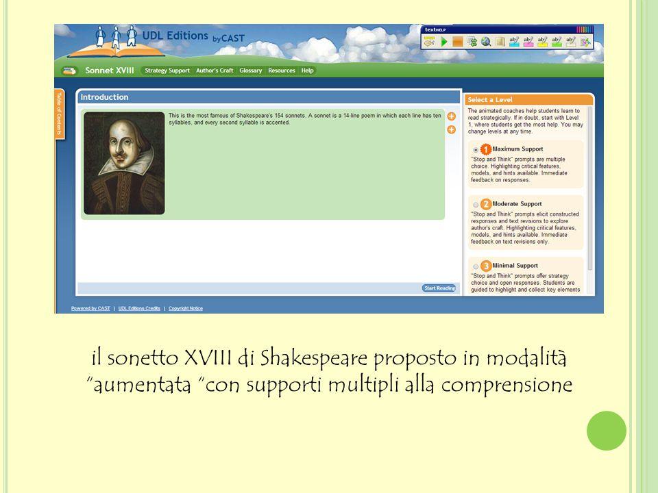 """il sonetto XVIII di Shakespeare proposto in modalità """"aumentata """"con supporti multipli alla comprensione"""