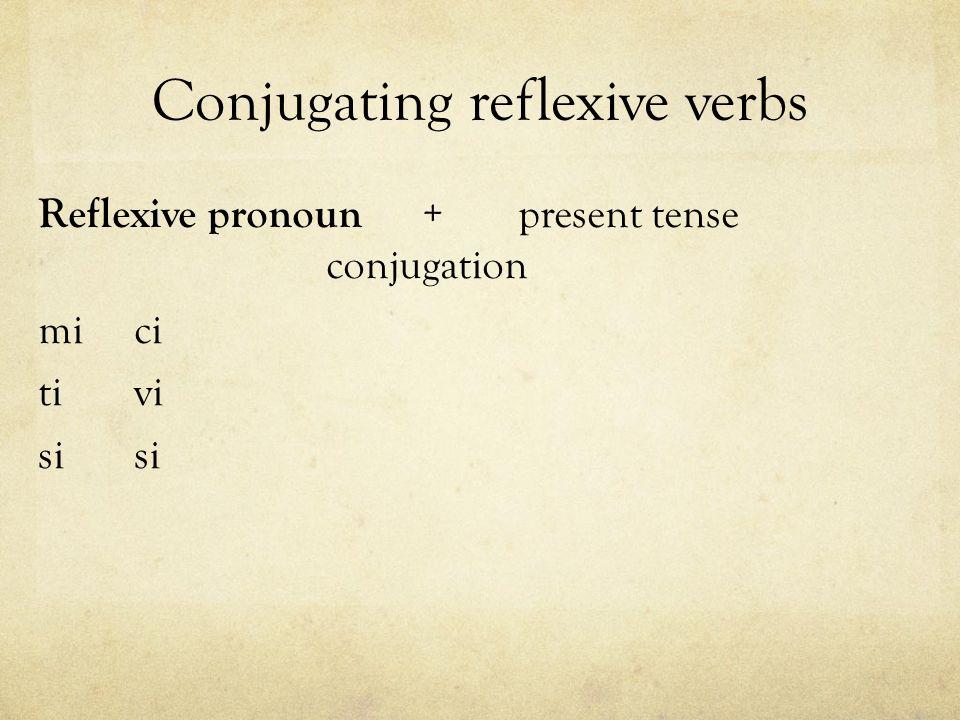 Conjugating reflexive verbs Reflexive pronoun +present tense conjugation mici tivi si