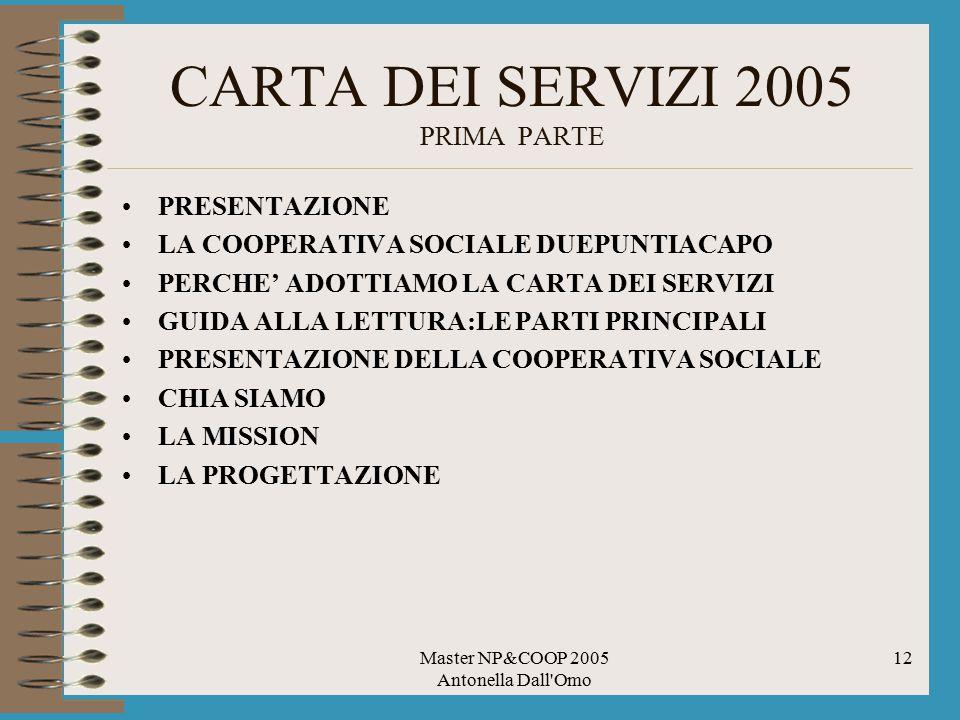 Master NP&COOP 2005 Antonella Dall Omo 12 CARTA DEI SERVIZI 2005 PRIMA PARTE PRESENTAZIONE LA COOPERATIVA SOCIALE DUEPUNTIACAPO PERCHE' ADOTTIAMO LA CARTA DEI SERVIZI GUIDA ALLA LETTURA:LE PARTI PRINCIPALI PRESENTAZIONE DELLA COOPERATIVA SOCIALE CHIA SIAMO LA MISSION LA PROGETTAZIONE