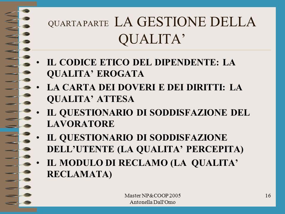 Master NP&COOP 2005 Antonella Dall'Omo 16 QUARTA PARTE LA GESTIONE DELLA QUALITA' IL CODICE ETICO DEL DIPENDENTE: LA QUALITA' EROGATA LA CARTA DEI DOV