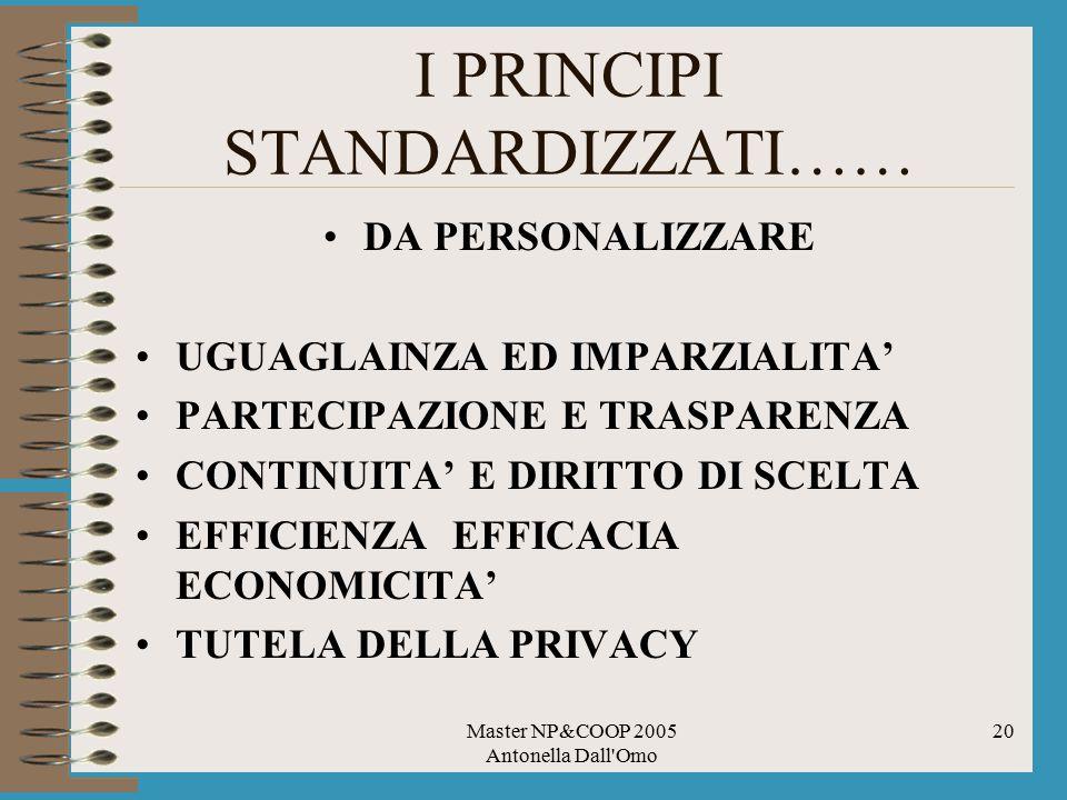 Master NP&COOP 2005 Antonella Dall'Omo 20 I PRINCIPI STANDARDIZZATI…… DA PERSONALIZZARE UGUAGLAINZA ED IMPARZIALITA' PARTECIPAZIONE E TRASPARENZA CONT