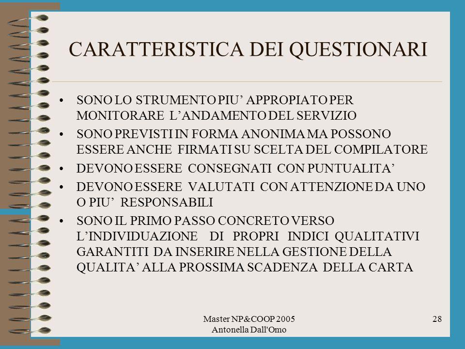 Master NP&COOP 2005 Antonella Dall Omo 28 CARATTERISTICA DEI QUESTIONARI SONO LO STRUMENTO PIU' APPROPIATO PER MONITORARE L'ANDAMENTO DEL SERVIZIO SONO PREVISTI IN FORMA ANONIMA MA POSSONO ESSERE ANCHE FIRMATI SU SCELTA DEL COMPILATORE DEVONO ESSERE CONSEGNATI CON PUNTUALITA' DEVONO ESSERE VALUTATI CON ATTENZIONE DA UNO O PIU' RESPONSABILI SONO IL PRIMO PASSO CONCRETO VERSO L'INDIVIDUAZIONE DI PROPRI INDICI QUALITATIVI GARANTITI DA INSERIRE NELLA GESTIONE DELLA QUALITA' ALLA PROSSIMA SCADENZA DELLA CARTA