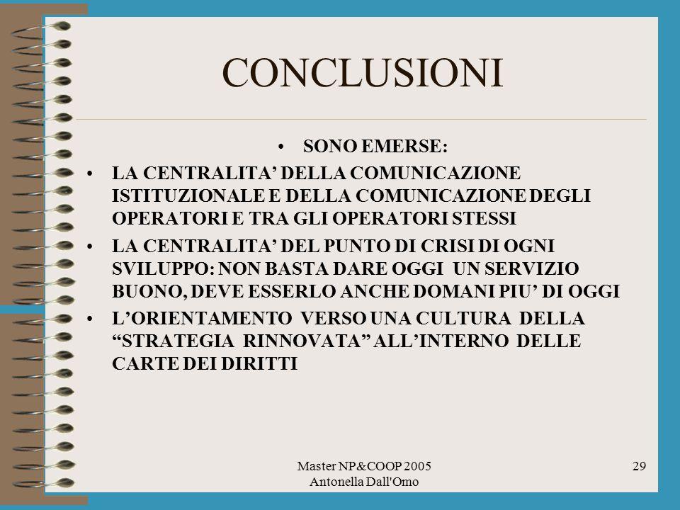 Master NP&COOP 2005 Antonella Dall'Omo 29 CONCLUSIONI SONO EMERSE: LA CENTRALITA' DELLA COMUNICAZIONE ISTITUZIONALE E DELLA COMUNICAZIONE DEGLI OPERAT